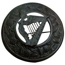 SL Homme Kilt broches Harpe Irlandaise Jet Finition noir/Fly Plaid Broche Harpe celtique