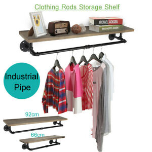 Industrial Pipe Clothes Towel Rack Wood Shelves Shelf Holder Wall-mounted