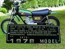 FREE EMBOSSING HONDA XR75 2/78  MOTOR DRIVEN CYCLE Head tube Neck PLATE DATA TAG