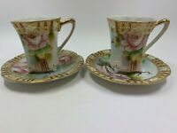 Pair of Antique Nippon Moriage dainty footed tea cups and saucers floral gold