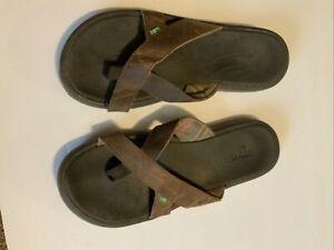 Sanuk Sling Toe Loop Sandals Men's Size 10 Leather