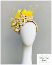 Ladies Yellow Floral Fascinator Wedding Races Melbourne Cup