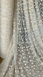 """0.5MTR CREAM EMBROIDERED STRETCH FLORAL BRIDAL LACE NET FABRIC 56"""" WIDE.."""