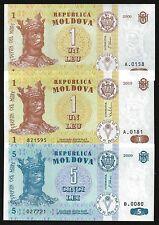 Moldova Diff. BANKNOTES 2006-10 LOT X 3 PCS UNC