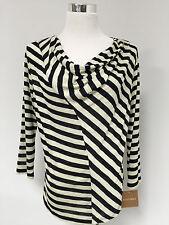 NEW Ellen Tracy Cream Black Stripe Cowl Neck 3/4 Sleeve Top Blouse SZ L NWT $39