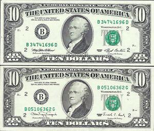 ÉTATS UNIS - LOT DE 9 BILLETS - 2 DE 10 DOLLARS  ET 7 DE 1 DOLLAR -