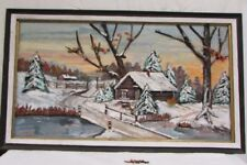 Amazing 48x28 3d Big Og Painting Wood Accents Winter unique cabin bridge Chesley