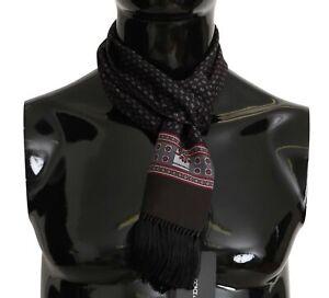 DOLCE & GABBANA Scarf Brown Baroque Tassel Mens Silk Shawl 16cmx140cm RRP $300