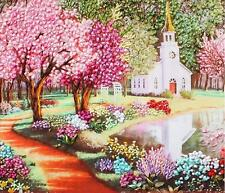 Ribbon Embroidery Kit Spring Outside The Church Needlework Craft Kit RE3031