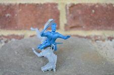 Marx Civil War Falling Horse Rider Union Cavalry 54MM 1/32 Toy Medium Blue