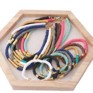 Boho Polymer Clay Beaded Elastic Bracelet Necklace Set Disc Beads Choker wamen