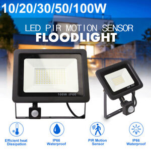 Slim Led Flood Light Garden Floodlight PIR Motion Sensor Outdoor Security Lights