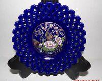 Vintage Cobalt Blue decorative plate lattice  work & peacock decoration Japan