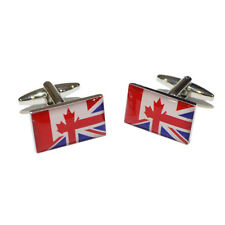 Union Jack Mixed with Canadian Flag Cufflinks & Gift Pouch