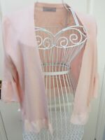 MARKS & SPENCER Nude Pink Cardigan  16 Frill Ruffle Pretty Pastel Knit Summer