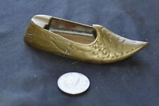 Vintage Etched Brass Sultan's Slipper Ashtray- Made in India Collectible