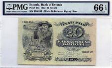 ESTONIA 20 KROONI 1932 PICK 64 a BANK OF ESTONIA GEM UNC LUCKY MONEY VALUE $400