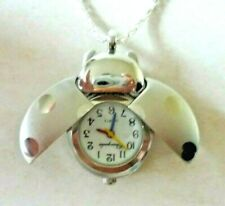 Silver Plated Metal & Stainless Steel Ladybird Pendant Watch Necklace - New