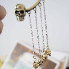 Retro Women Gothic Punk Skull Bullet Cuff Tassels Earhok Dangle Clip Earrings