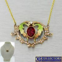 1910 Antique Art Nouveau 14k Gold Garnet Diamond Enamel Pendant Necklace S8
