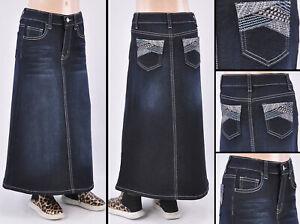 Girl's Kids Stretch Denim Skirt Long Length Skirt Size 4/6, SIZE small #RK-S-21