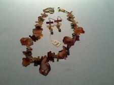 Eiko necklace earrings set stone freshwater pearl gold tone