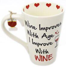 Wine Friends Ceramic Mug ~ Wine Improves With Age I Improve With Wine