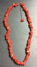 """Red Sea Bamboo Coral Chip Necklace 18"""" With Extender Deep Red Crystals"""