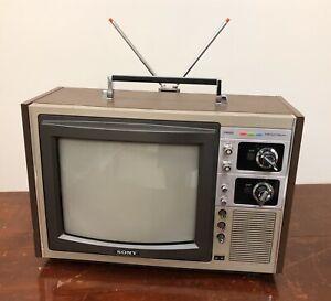 "Vintage Sony Trinitron Color TV KV-1215 1976 CRT 12"" Woodgrain Working"