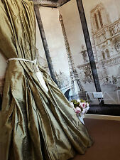 """NEW Huge 100% Pure Silk Antique Gold 93""""D 50""""W*Blackout Blanket Lined Curtains"""