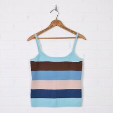 French Connection Blue Striped Knit Sweater Sleeveless Cami Tank Top Blouse M