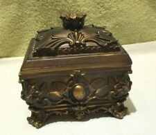 Vintage Heavy Carved Jewelry Box