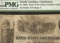 1861 $1 LOW SN 20 SOUTH CAROLINA BANK NOTE LARGE CURRENCY OLD PAPER MONEY PMG 15