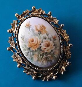 Vintage Hand Painted Roses Brooch