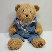 "Harley Davidson Brown Bear Denim Harley Davidson Outfit Plush Stuffed 17"""