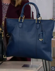 G.I.L.I. Pebble Leather Convertible Satchel Color Midnight Blue