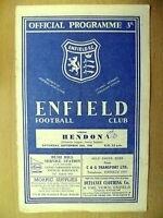 Athenian League (Senior Section)- ENFIELD v HENDON, 10 Sept 1960