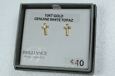 Solid 10k Gold Cross Stud Earrings With Blue Topaz & Friction Backs