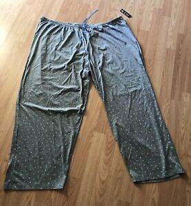 Hue Women's Gray Blue Heart-Print Cotton Pajama Pants Size 3X