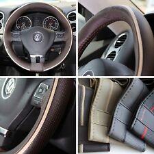 "15"" Steering Wheel Cover Brown w/ Beige Strip PVC Leather Wrap Sew Kit 47016"