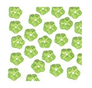 100 Peridot Green 5mm Forget Me Not Daisy Buttercup Flower Czech Glass Beads