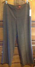 New! Larry Levine Womens Dress Pants Size 12 P Petite, Brown Pinstripe, Fall
