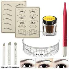 Microblading Permanent Makeup Eyebrow Tattoo Needle Pen Ink Practice Skin Kit