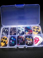 Rock Band Acoustic Electric Guitar Picks Mix Plectrums 50pcs+Clear Case Bead Box