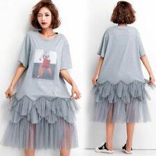 Corea Moda Mujeres Escote Redondo Manga Corta Suelta Encaje Vestido Pastel de impresión a mitad de la pantorrilla