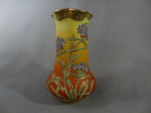Nippon Vintage Floral design Gorgeous Coralene Vase.