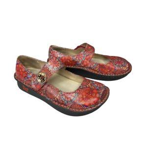 Alegria Mary Jane Adjustable Strap Nurse Clog Red Floral Bloom PAL-393 Size 38