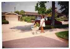 Found PHOTO Little Girl Pushing Doll Baby Buggy w/ Dog