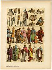 Árabes, Meder y persas. chromolithographie de 1884