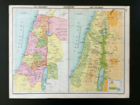 Antique Map Of Palestine Old New Testament C1910